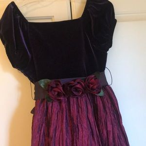 Deep purple with roses party dress. Size 6X